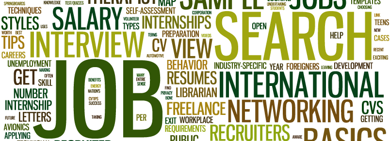 Word cloud of words related to jobs