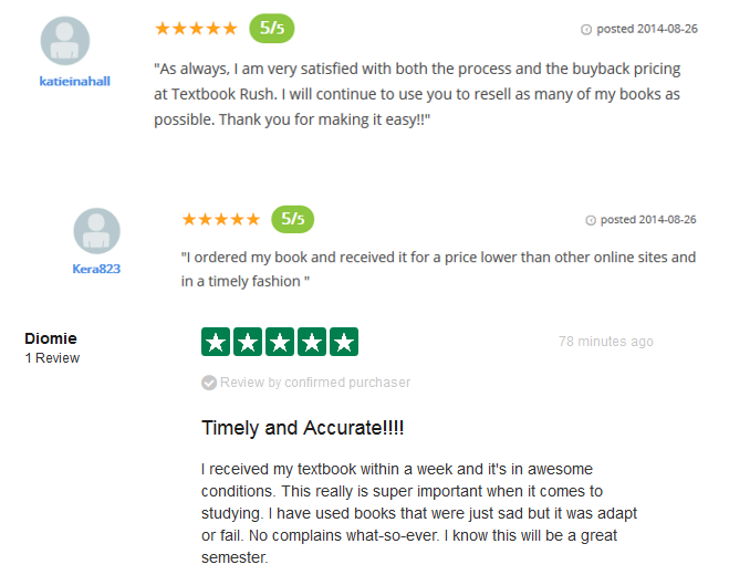 screenshot of TextbookRush reviews