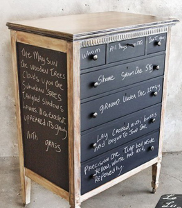 Picture of a dresser with chalkboard paint on it