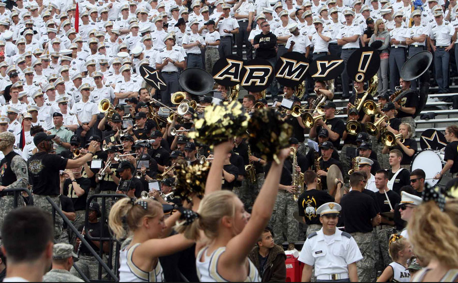 Westpoint students at a football game