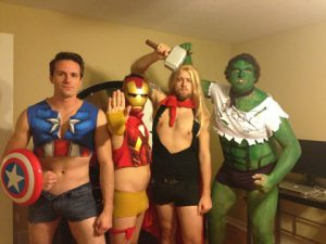 People dressed up as The Avengers