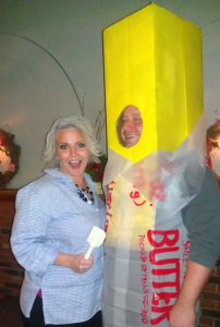People dressed as Paula Deen and a stick of butter