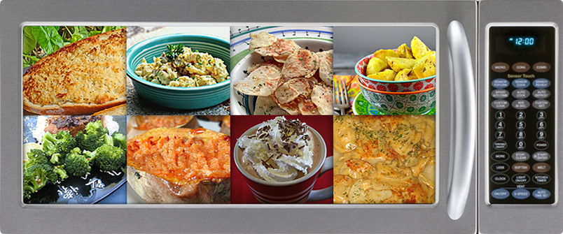 Collage of food in a microwave