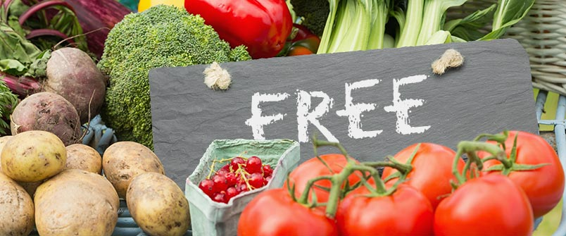 "Chalkboard with ""FREE"" written on it, and surrounded by fresh produce"