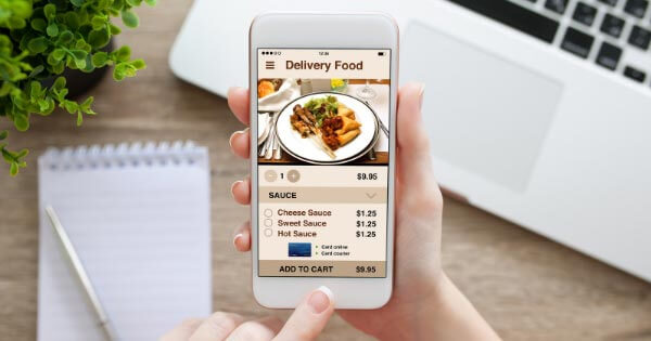 Food delivery app open on a phone