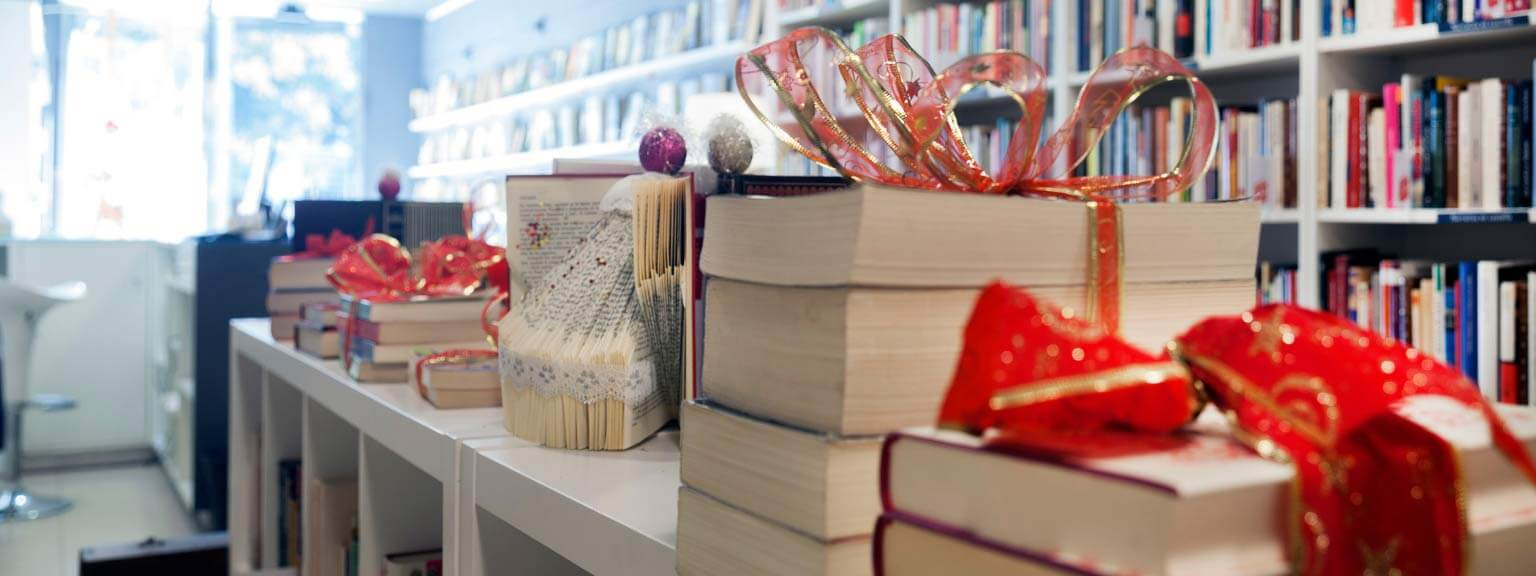 Books with ribbons on them